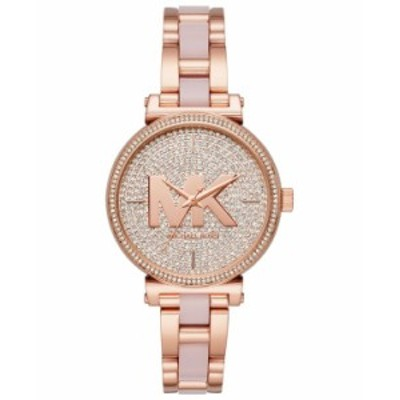 マイケルコース レディース 腕時計 アクセサリー Women's Sofie Rose Gold-Tone Stainless Steel and Blush Acetate Bracelet Watch 36mm