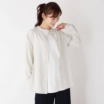 ピンクアドベ pink adobe 【M-3L】バンドカラーシャツ (グレージュ)