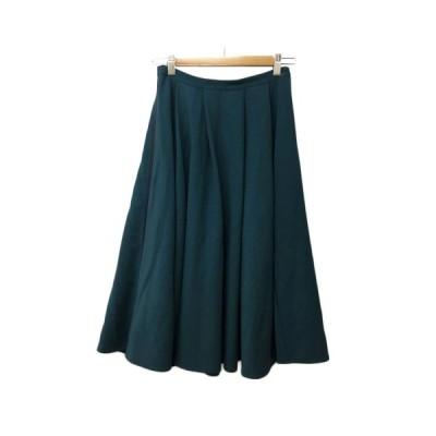 【中古】ボナジョルナータ BUONA GIORNATA スカート フレア ミモレ丈 タック 無地 7 緑 青 グリーン ブルー レディース 【ベクトル 古着】