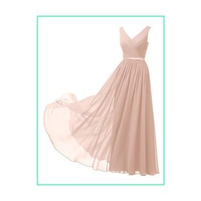 Alicepub V-Neck Chiffon Bridesmaid Dresses Plus Size Long Party Evening Formal Dress for Women Sleeveless, Pearl Pink, US20並行輸入品