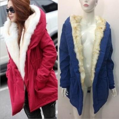 レディース ボアジャケット アウター ロング丈コート 裏起毛 裏ボア 無地 冬物 長袖 きれいめ 暖かく 防寒