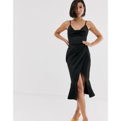 エイソス レディース ワンピース トップス ASOS DESIGN cowl neck cami midi dress with pephem Black