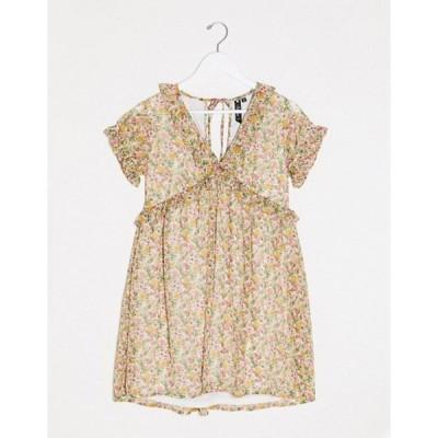 インフルエンス レディース ワンピース トップス Influence smock floral dress with frill detail