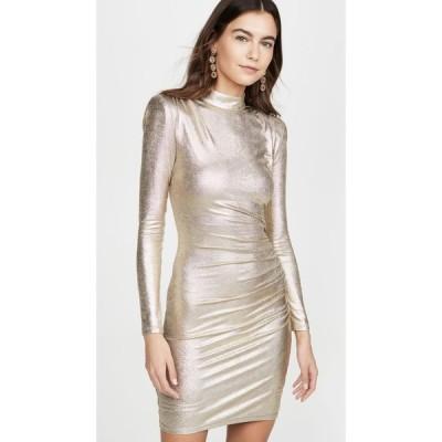アリス アンド オリビア alice + olivia レディース ワンピース ワンピース・ドレス Hilary Ruched Mock Neck Dress Pale Gold