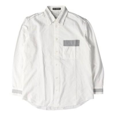 ISSEY MIYAKE (イッセイミヤケ) ストライプ切替しタイプライターボタンシャツ ホワイト 1 【メンズ】【中古】【美品】【K2366】