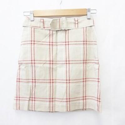 【中古】クミキョク 組曲 KUMIKYOKU 台形スカート 膝丈 ベルト チェック ステッチ刺繍 綿 コットン ベージュ 赤 白 1 レディース