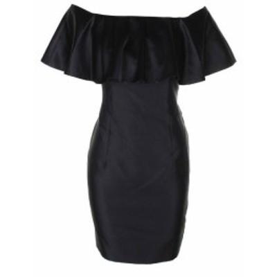 Adrianna Papell アドリアーナ パペル ファッション ドレス Adrianna Papell Black Satin geruscht from-the-Shoulder Sheath Dress 6