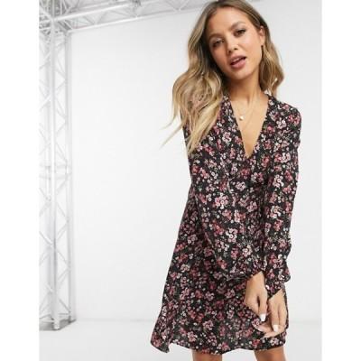ニュールック レディース ワンピース トップス New Look v neck mini dress in black based pink floral