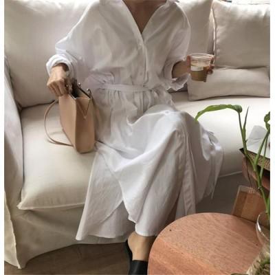 品質改善!高品質新入庫!韓国ファッション 気質 大人気 おしゃれな トレンド 新品 ロングセクション Vネック スリム 長袖 シャツワンピ