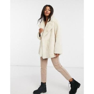 エイソス ASOS DESIGN レディース コート アウター Oversized Collared Coat In Faux Fur クリーム