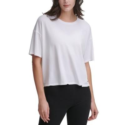 ダナ キャラン ニューヨーク Tシャツ トップス レディース Cropped T-Shirt White