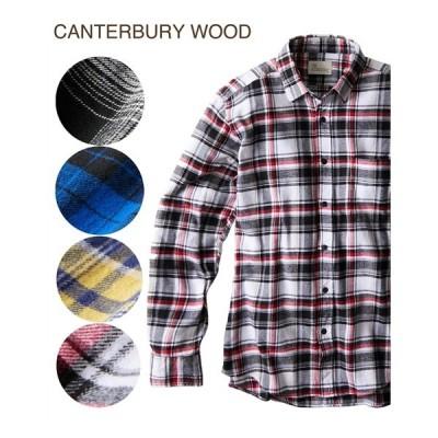 シャツ カジュアル メンズ CANTERBURY WOOD カンタベリーウッド フランネルチェック柄カジュアル トップス M/L/LL ニッセン