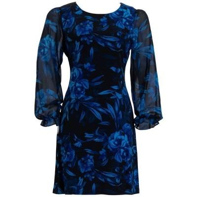 コネクテッド ワンピース トップス レディース Plus Size Printed Chiffon-Sleeve Sheath Dress Sapphire