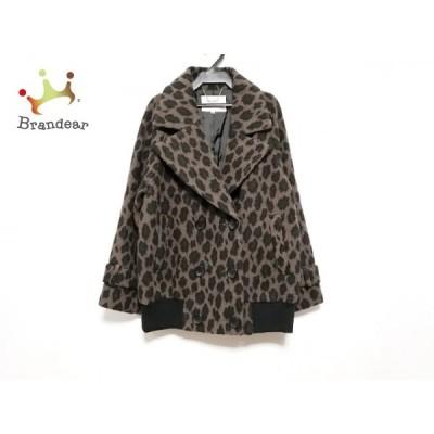 ザ ヴァージニア The Virgnia コート サイズ38 M レディース ブラウン×黒 冬物/豹柄     スペシャル特価 20201222