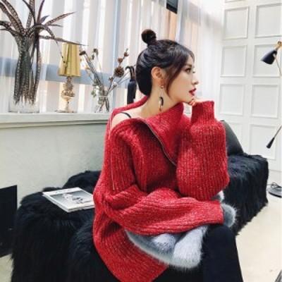 トップス ニット セーター プルオーバー 長袖 無地 ジッパー 韓国 オルチャン 韓国ファッション ハイネック 秋 冬 コーデ