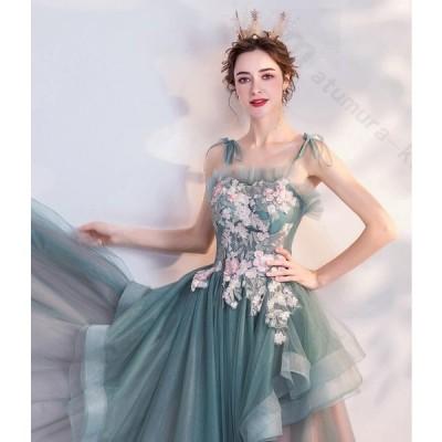 レディース ドレス 結婚式 パーティー 演奏会 グリーン ビスチェタイプ プリンセスライン 袖なし Aライン 透け感 ロングドレス 二次会 大きいサイズ