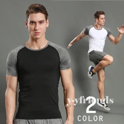 スポーツウエア コンプレッションウェア メンズ 速乾Tシャツ tシャツ 半袖tシャツ 半袖 配色 吸汗 ストレッチ 夏 夏物