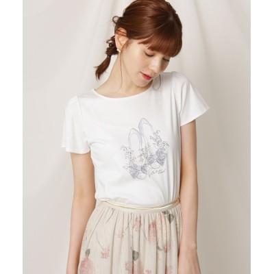 Couture brooch / 【洗える】バレエシューズ&リリープリントTシャツ WOMEN トップス > Tシャツ/カットソー