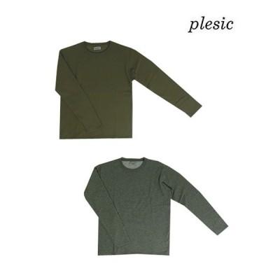 Plesic(プルシック)【SALE】AK190744 ハニカムサーマルボンバーヒートクルー BeigeKhaki  Grey ベージュカーキ  グレー
