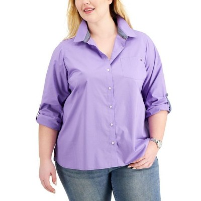 トミー ヒルフィガー レディース シャツ トップス Plus Size Cotton Roll-Tab Shirt