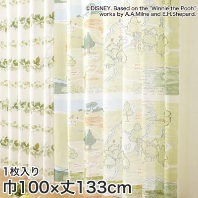 カーテン ディズニーファン必見 スミノエ Disney レースカーテン POOH/ 100エーカーの森 巾100×丈133cm*M-1108