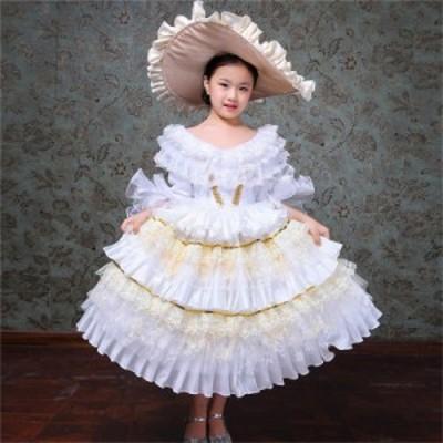 子供服 ワンピース ロングドレス 司会 劇場 歌劇 フォーマル 女の子 オペラ声楽 中世貴族風 演出舞台 結婚式 ステージ衣装