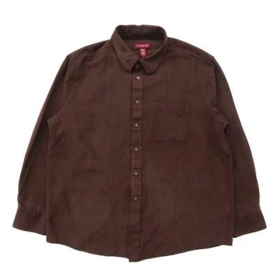古着 フェイクスエードシャツ 長袖 ブラウン サイズ表記:XL