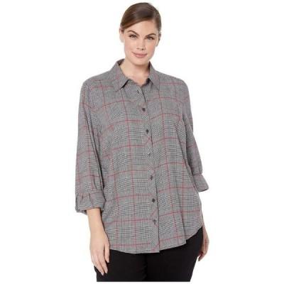 フォックスクラフト レディース シャツ トップス Plus Size Zoey Brushed Glen Plaid Shirt