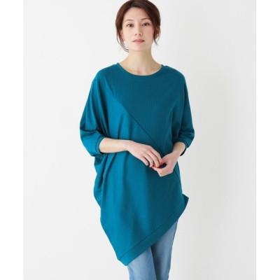 SHOO・LA・RUE / 【フリーサイズ】リブ編み斜め切り替え変形カットソー WOMEN トップス > Tシャツ/カットソー