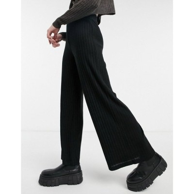 ラウンジブル レディース カジュアルパンツ ボトムス Loungeable mix & match soft knit ribbed wide leg pants in black Black