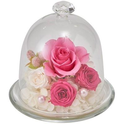 プリザーブドフラワー ドーム 全高12.5cm×直径12.5cm(バラ 薔薇 ばら ローズ ガラスの靴 白箱入り ギフト アレンジ)(商品番号:k-812-2)