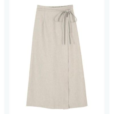 【ティティベイト/titivate】 【田中亜希子さん着用】リネンライクラップAラインリボン付スカート