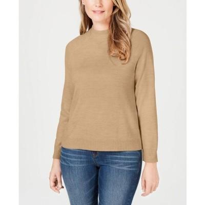 ケレンスコット ニット&セーター アウター レディース Petite Luxsoft Zip-Back Mock-Neck Sweater, Created for Macy's Chestnut Heather