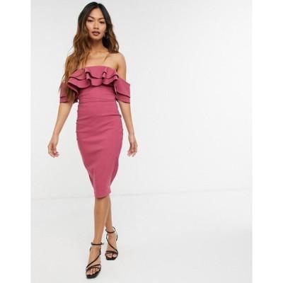 ベスパー レディース ワンピース トップス Vesper off shoulder body-conscious midi dress with ruffle detail in rose pink
