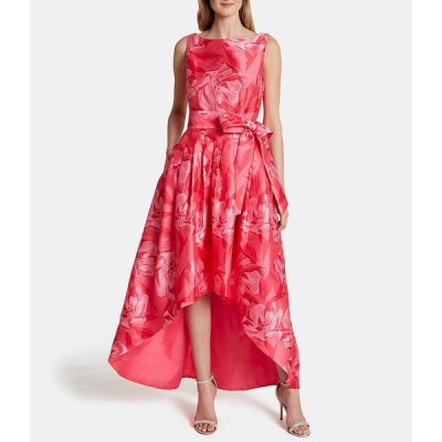 タハリエーエスエル  レディース ワンピース トップス Floral Print Satin Jacquard Hi-Low Gown Coral Pink