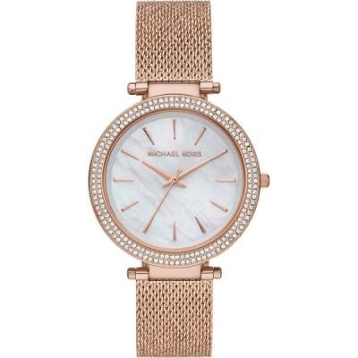 マイケル コース MICHAEL MICHAEL KORS レディース 腕時計 Michael Kors 'Darci' Crystal Bezel Mesh Strap Watch, 39mm White Mop/Rose Gold