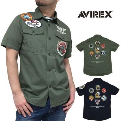 正規品 AVIREX(アヴィレックス) 半袖 ミリタリーシャツ ワッペン オリーブ ネイビー 紺 6165104