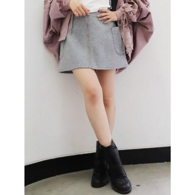 ジェイダ GYDA フロントZIP スカート (グレー)
