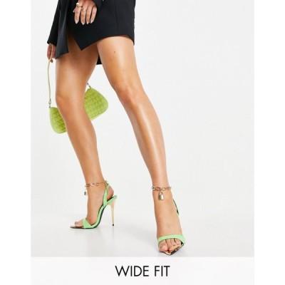 パブリックディザイア Public Desire Wide Fit レディース サンダル・ミュール シューズ・靴 Triumph Heeled Sandals With Padlock Anklet In Green グリーン