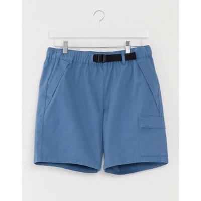 エイソス メンズ ハーフパンツ・ショーツ ボトムス ASOS DESIGN cargo shorts with webbed belt in bright blue
