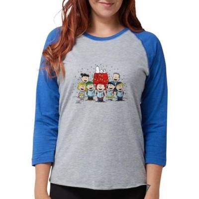 レディース 衣類 トップス CafePress - Peanuts Gang Christmas - Womens Baseball Tee Tシャツ