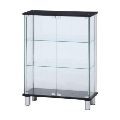ガラス ディスプレイケース 3段 ワイド ブラック