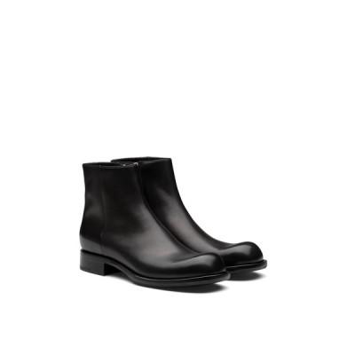 プラダ PRADA アンクルブーツ ブーツ シューズ 靴 ブーティー ブラック レザー