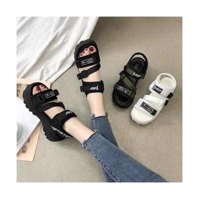 厚底サンダル レディース 歩きやすい 黒 可愛い 韓国 厚底 メッシュ スニーカー 春夏シューズ サンダル