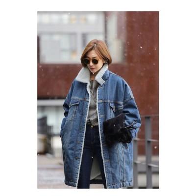 デニムジャケット レディース デニムコート ジャケット 秋冬 大きいサイズ ボアジャケット 厚手 裏起毛 ミディアム丈 デニムコート 防寒 アウター