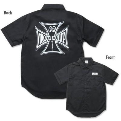 ムーンアイズ ワークシャツ 黒 MOONEYES 正規品 MOON Equipped Iron Cross 半袖シャツ