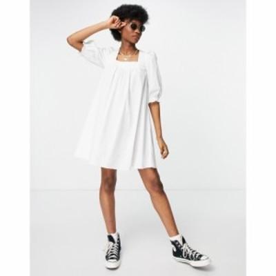 ニュールック New Look レディース ワンピース ミニ丈 ワンピース・ドレス Tie Back Shirred Poplin Mini Dress In White ホワイト