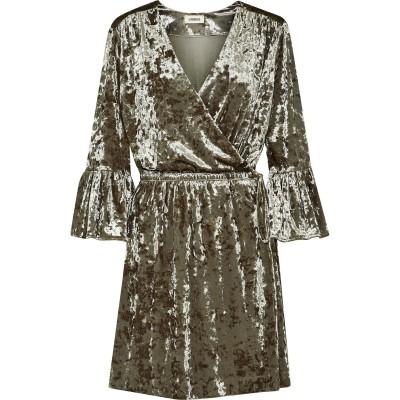 ラジャンス L'AGENCE ミニワンピース&ドレス ミリタリーグリーン L ポリエステル 90% / ポリウレタン 10% ミニワンピース&ドレス