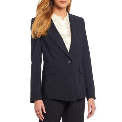 アントニオメラニー レディース ジャケット&ブルゾン アウター Micah Long Sleeve Pinstripe Wool Blend Suiting Jacket Navy/Ivory