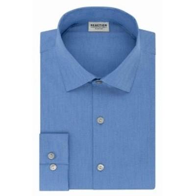 Kenneth Cole ケネスコール ファッション ドレス Kenneth Cole Reaction Mens Blue 17 1/2 Tech Slim Fit Woven Dress Shirt
